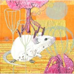 Garden Mouse          SOLD            Cut Paper on Wood Panel       6″ x 6″