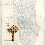 Palmetto and Crescent      SOLD            Tea Powder and Map on Wood Panel       12″ x 18″