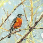 Winter Morning Robin      SOLD            Cut Paper on Wood Panel       10″ x 10″