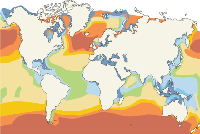 Wave energy potential in the world (kW/m of incoming wave)