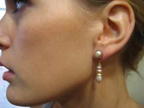 Pink Pearl Earring Gold
