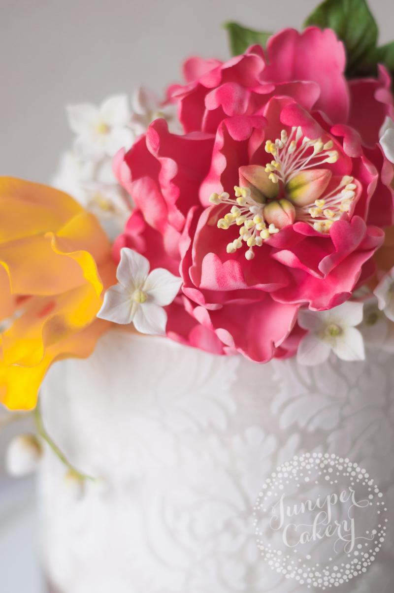 Damask tulip and peony birthday cake by Juniper CakeryDamask tulip and peony birthday cake by Juniper Cakery