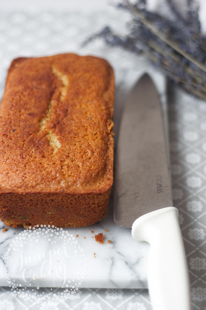 Deliciously healthy Carrot, pistachio and pomegranate loaf recipe by Juniper Cakery