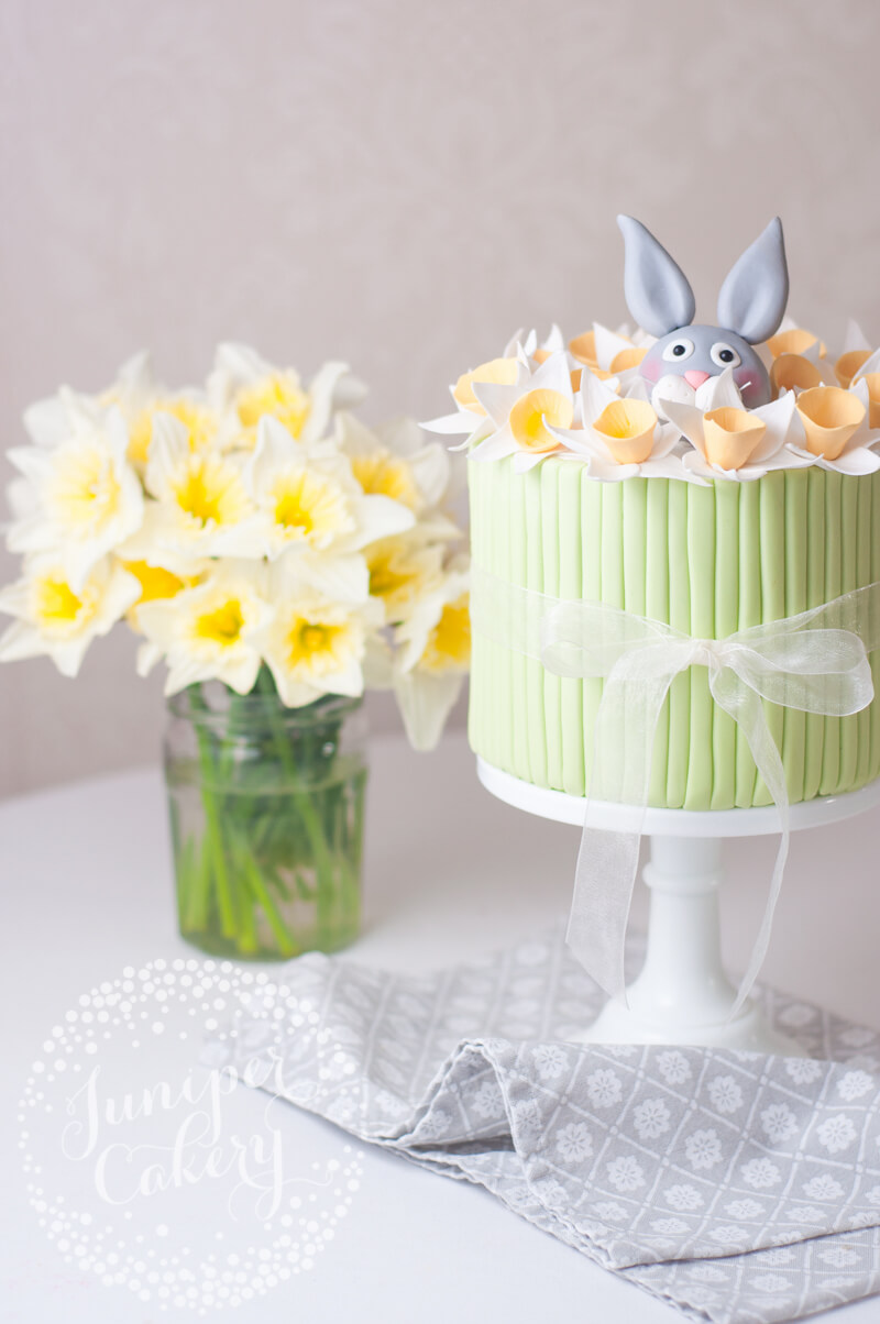 Daffodil and rabbit Easter cake tutorial by Juniper Cakery