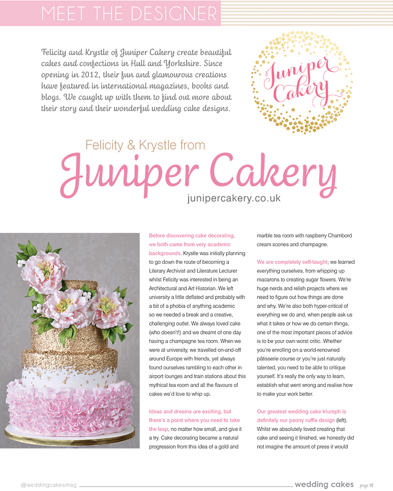 Juniper Cakery interview in Wedding Cakes Magazine