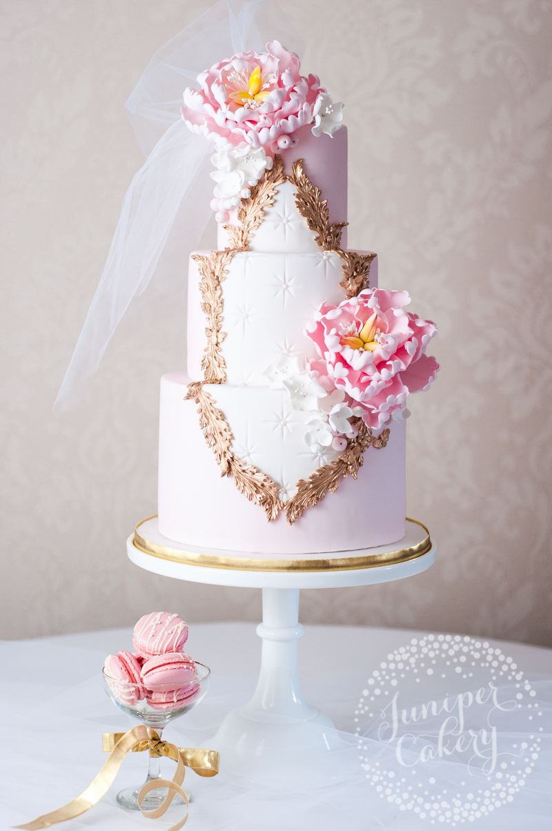 Pretty in pink Rococo wedding cake by Juniper Cakery