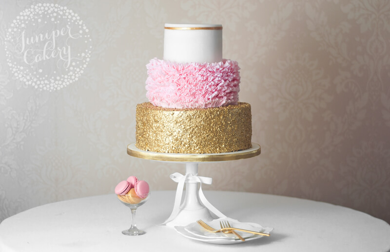 Glam pink and gold wedding cake by Juniper Cakery