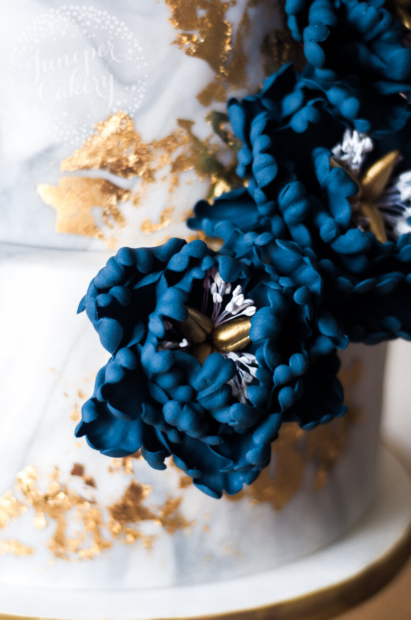 Gorgeous Marbled Gold and Navy Peony Wedding Cake