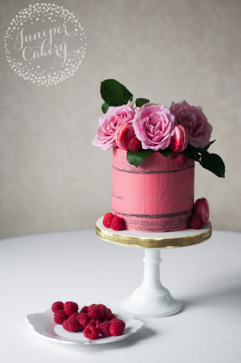 Pretty in Pink Raspberry Chambord and Belgian Chocolate Naked Cake by Juniper Cakery