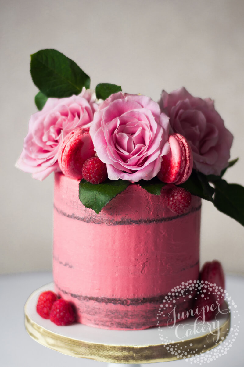 Lovely Raspberry Chambord and Belgian Chocolate Naked Cake by Juniper Cakery