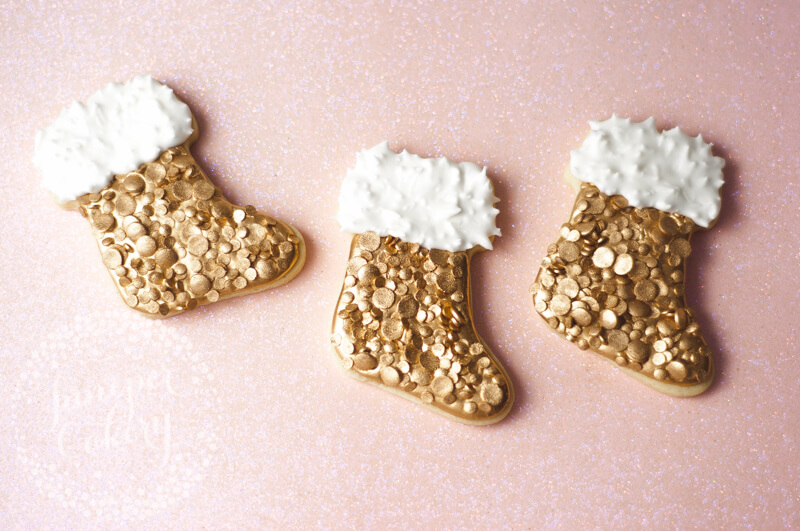 Sequin Christmas stocking cookies tutorial by Juniper Cakery