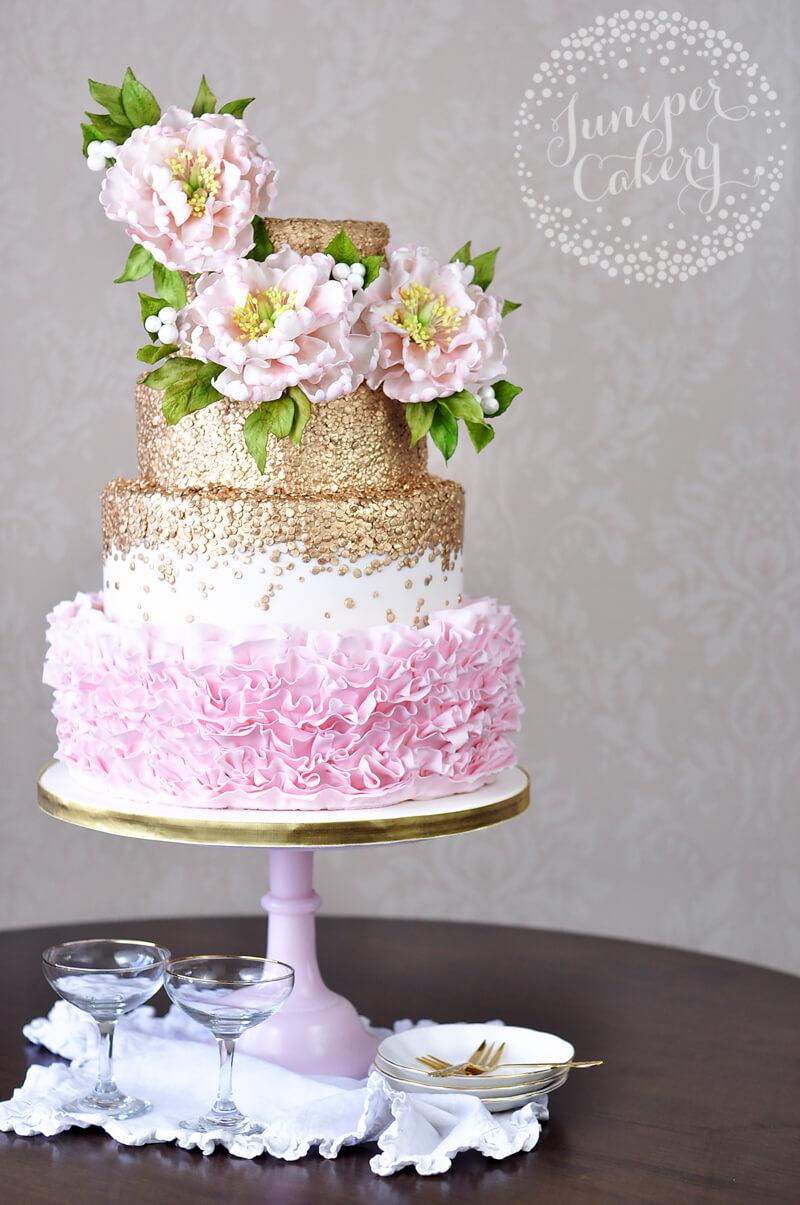 Peony ruffle wedding cake by Juniper Cakery