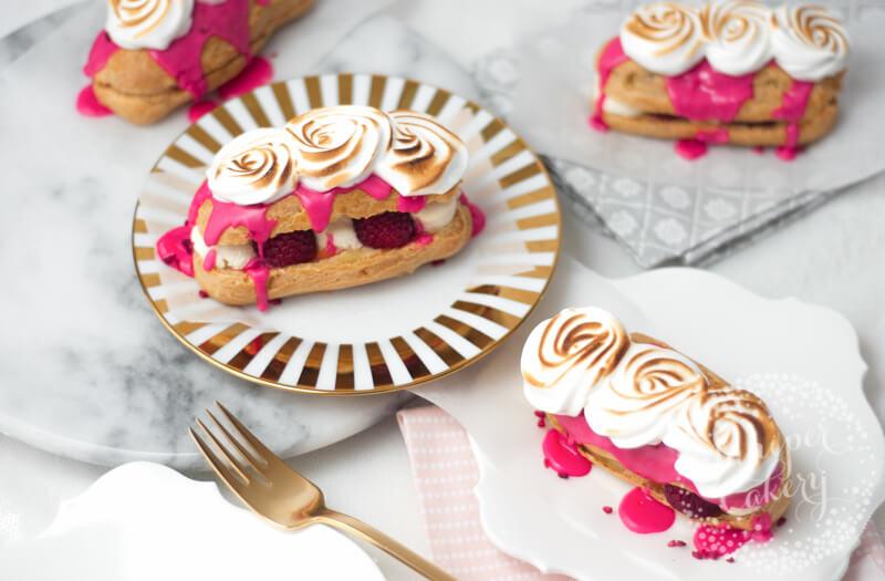 Delicious Raspberry and Lemon Meringue Eclairs recipe via Juniper Cakery