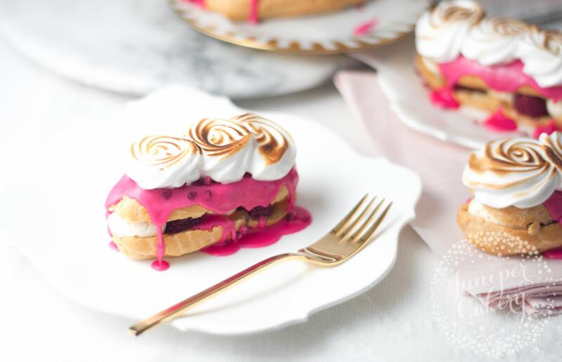 Pink lemon meringue eclair recipe by juniper Cakery