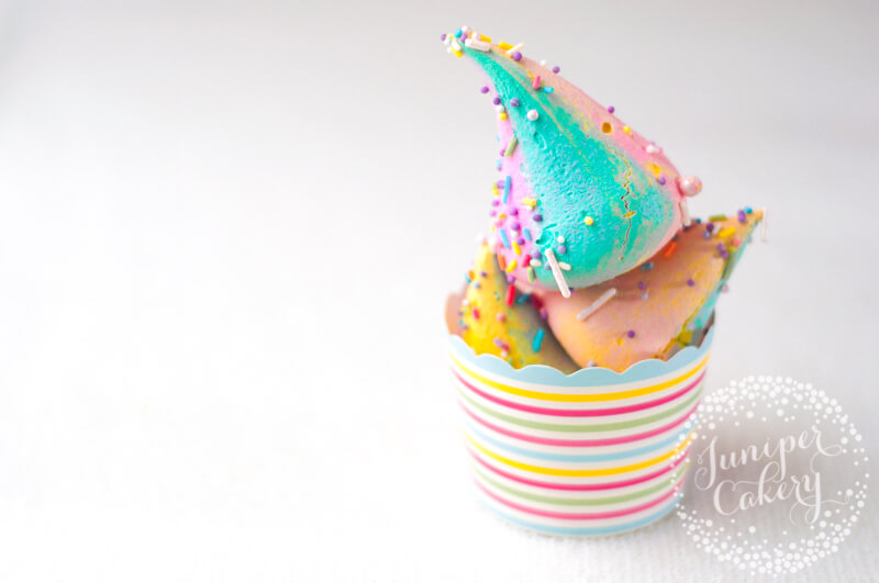 Bright unicorn poop recipe via Juniper Cakery