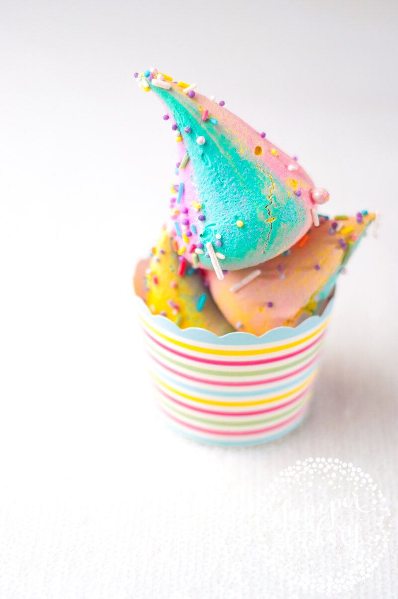 Unicorn poop meringue recipe by Juniper Cakery