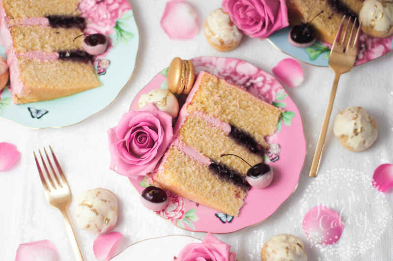 Cherry, vanilla and white chocolate cake recipe by Juniper Cakery for Royal Albert and Miranda Kerr