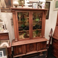 Antique China Cabinet with stained glass doors Fort Worth Antiques