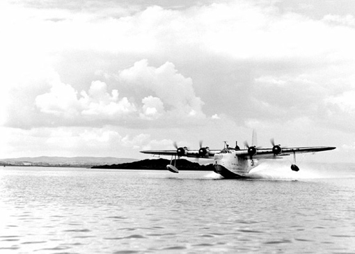 A Short Sunderland of No 422 Squadron landing at Castle Archdale.