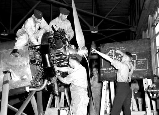 Airplane engine mechanics at the St. Thomas, Ontario, Technical Training School, 24th July, 1940.