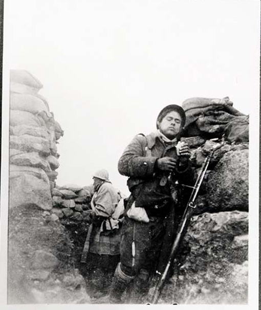 Soldier of the Mackenzie-Papineau Battalion in a Trench, Spain, c. 1937-38.