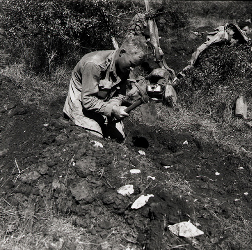 Private Thomas Hawkins, Royal Canadian Regiment, digging slit trench near Motta, Italy, 3 October 1943.