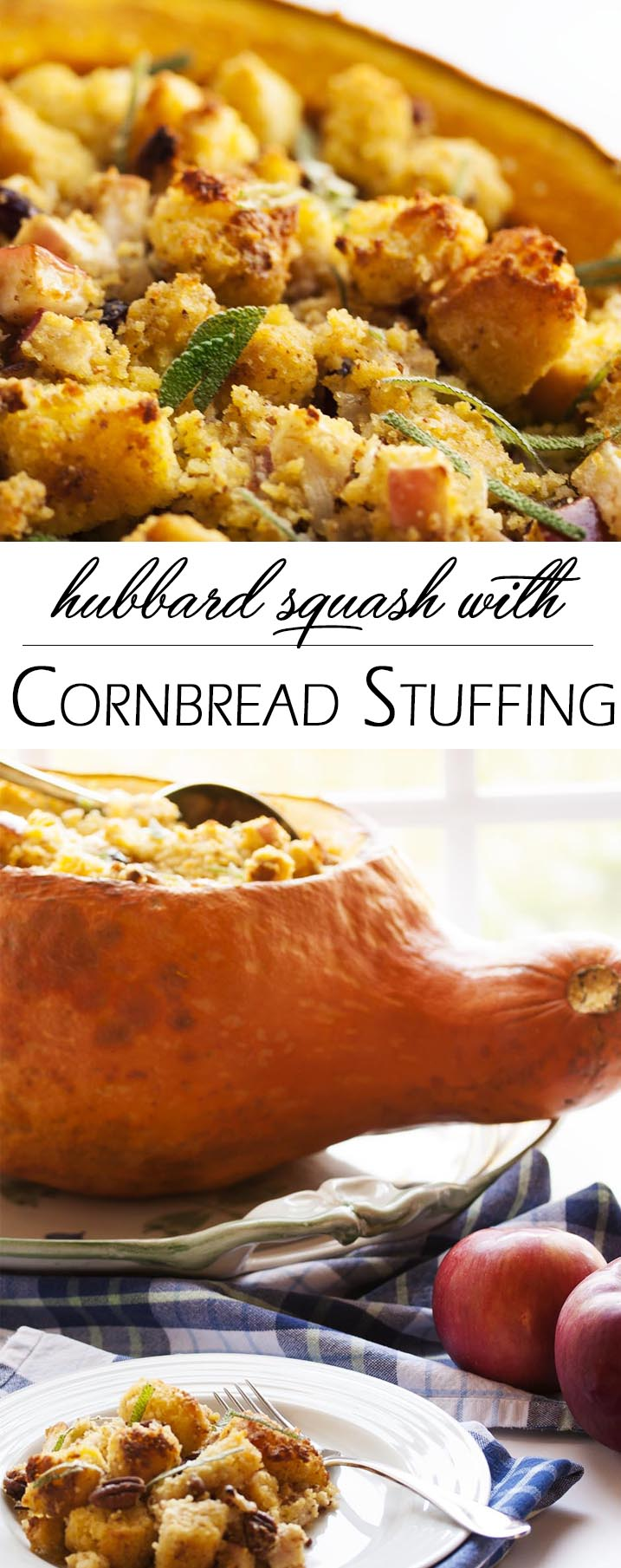 ... ? Hubbard Squash with Cornbread Stuffing - Just a Little Bit of Bacon