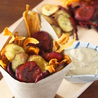 Baked Vegetable Chips with Tahini Dip