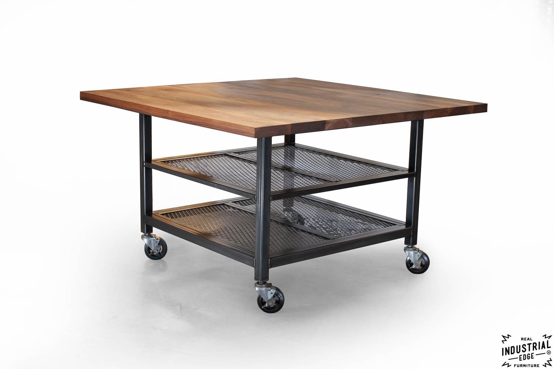 walnut steel industrial kitchen island dining table industrial kitchen table Walnut Steel Industrial Kitchen Island Dining Table