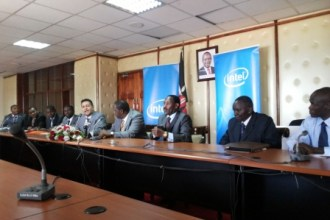 Intel SSG Tech To Market Accelerator Send Off By Cabinet Secretary Matiangi Suraj Shah and Team Harmonics and Team mHealth UC Berkeley Juuchini