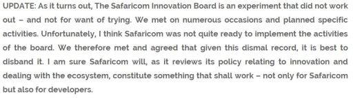 Safaricom Innovation Board Shut Down Disbandment Reason AlKags Blog Snippet JUUCHINI