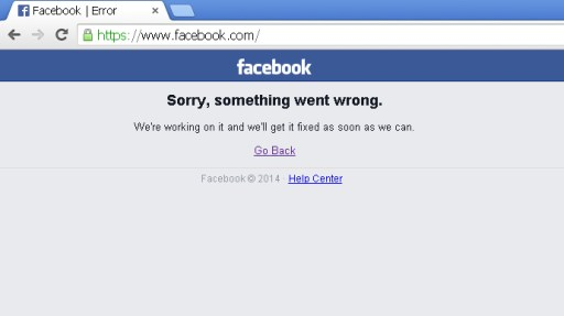 FACEBOOK DOWN FOR ALMOST AN HOUR