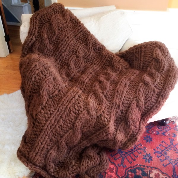 Chocolate Cabled Afghan
