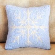 Blue Cashmere Snowflake Pillow