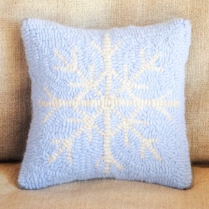 Blue Cashmere Snowflake Pillow