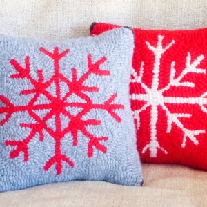 Red and Grey Snowflake Pillows