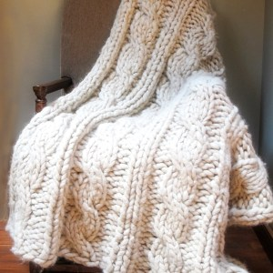 Cabled Chunky Alpaca Afghan Knitting Pattern
