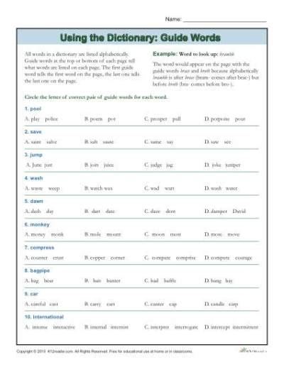 Dictionary Skills Worksheets | Guide Words