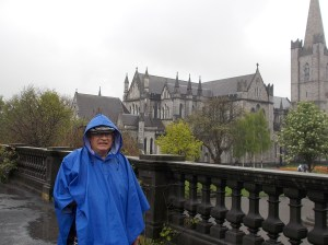 Dad and his poncho, outside St. Patrick's.