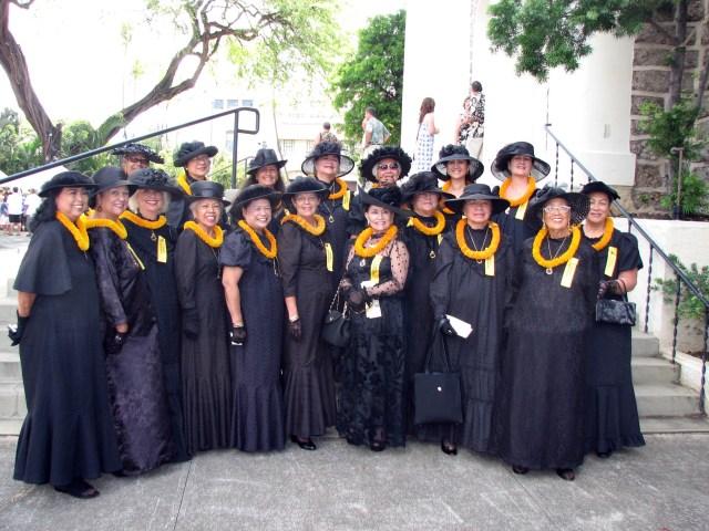 Na Waihne o Ka'ahumanu gathered this morning to honor Kamehameha I at Ali'i Sunday, Kawaiaha'o Church.