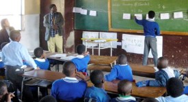Children learning in a class in Kenya