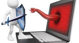 3d white person. Antivirus metaphor. Knight fighting worm virus. 3d image. Isolated white background.