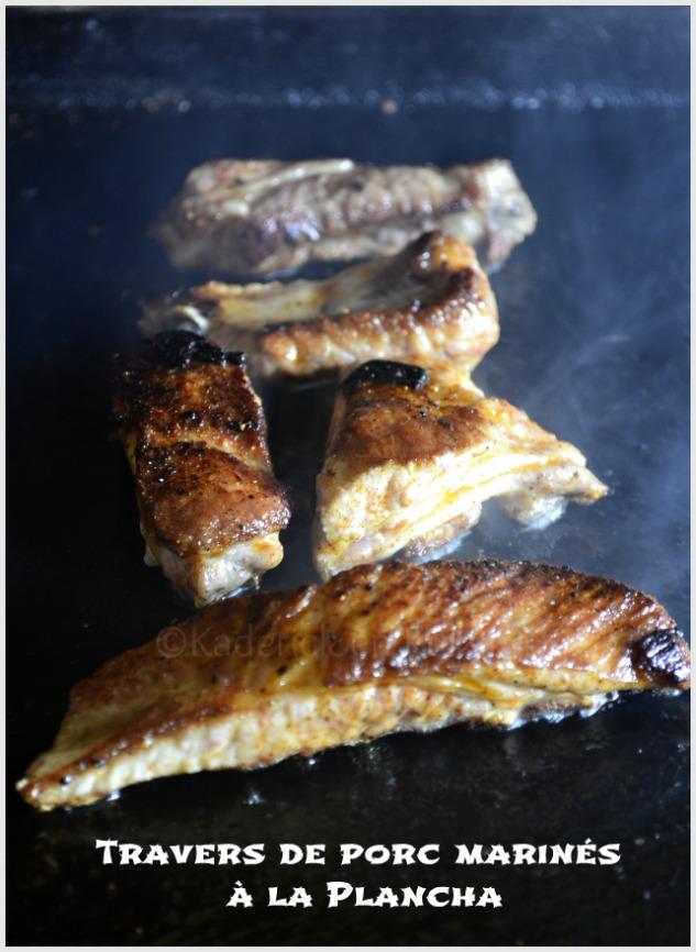 Travers de porc marinés cuits à la plancha