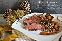 Recette magret de canard aux cèpes et réduction vin à la framboise