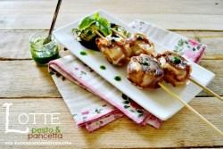 Recette plancha brochettes lotte au pesto et pancetta