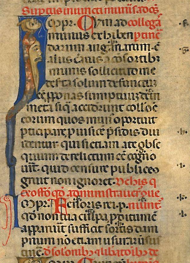 Foglio membranaceo in scrittura gotica (littera bononiensis) della seconda metà del XIII secolo