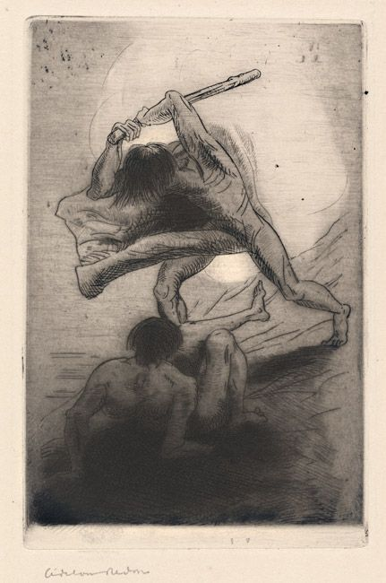 Cain and Abel 1886 Odilon Redon etching