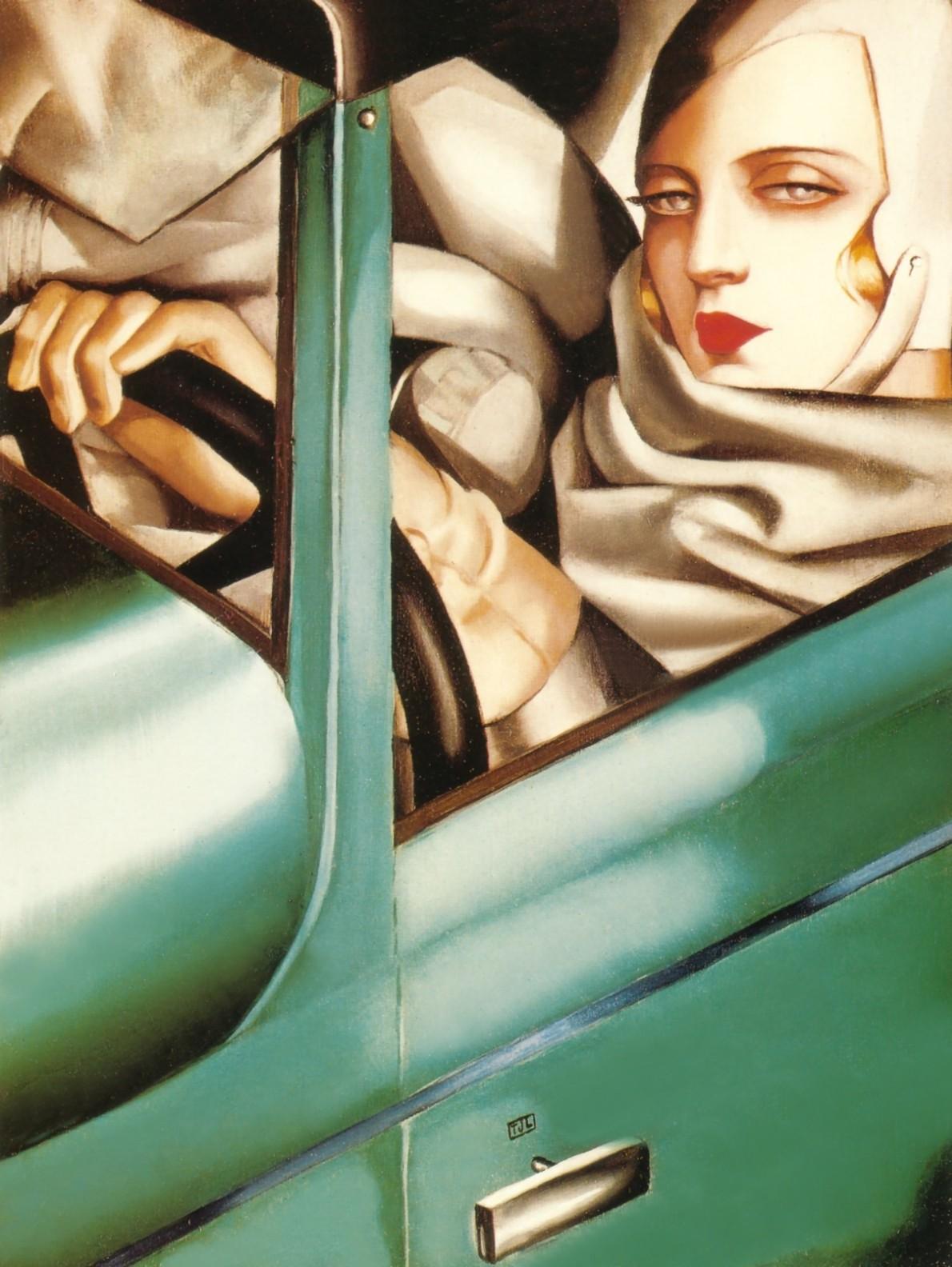 Tamara de Lempicka, portrait-in-the-green-bugatti-1925