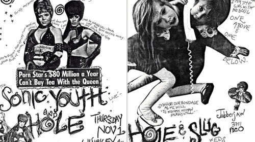 Flyers made by Courtney Love promoting Hole shows with Sonic Youth and Slug in Los Angeles, 1991.