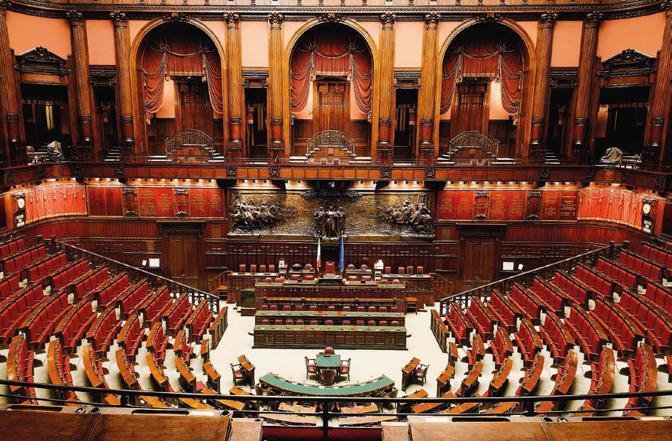 Roma, ore 10.11 Una veduta della sala del Parlamento italiano. Foto MArco di LAruo